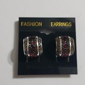 Cute ladies ruby rhinestone earrings